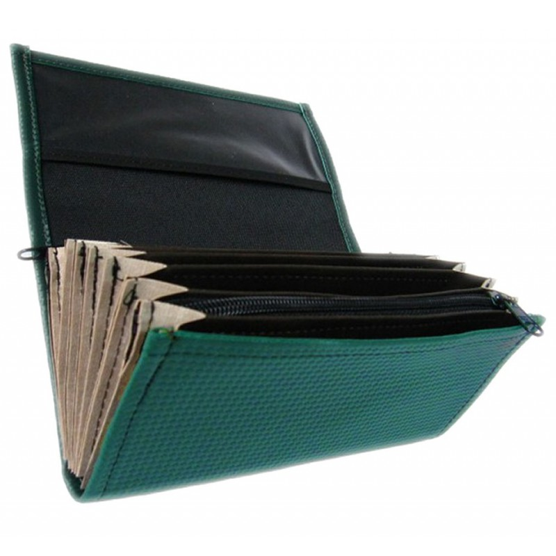 Waiter's moneybag - 2 zippers, artificial leather, dark green