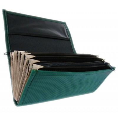 Číšnická peněženka - 2 zipy, koženka, tmavě zelená