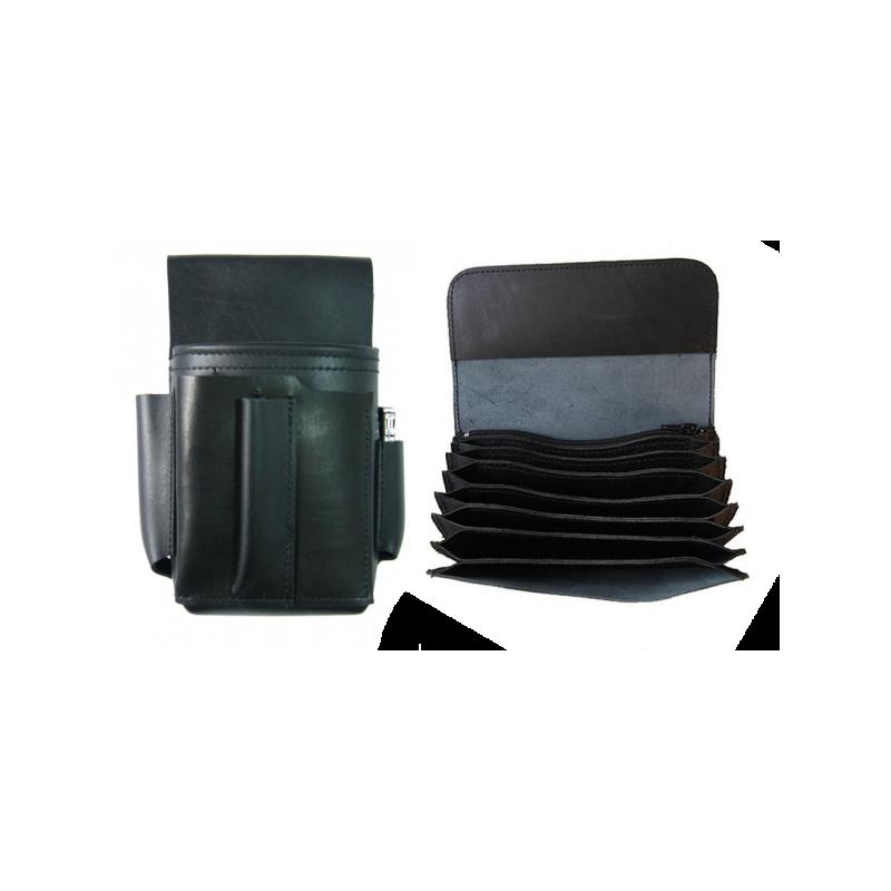 Kožený set :: celokožená peněženka (černá) + kapsa - zapalovač a otvírák