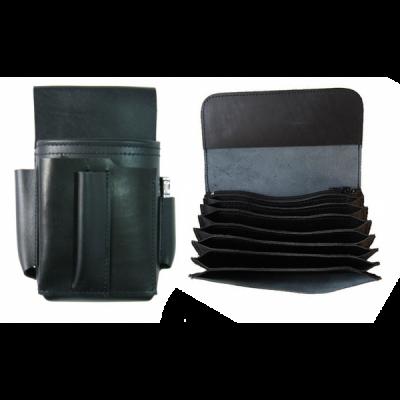 Kožený set :: celokožená peňaženka (čierna) + vrecko - zapaľovač a otvárač