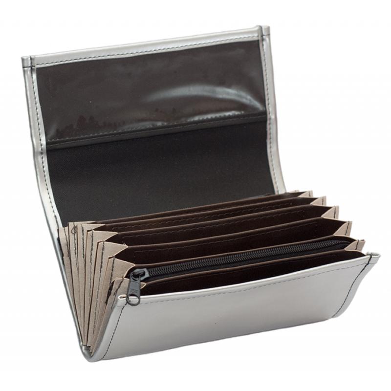 Kellnerportemonnaie – 2 Reißverschlüsse, Kunstleder, silber