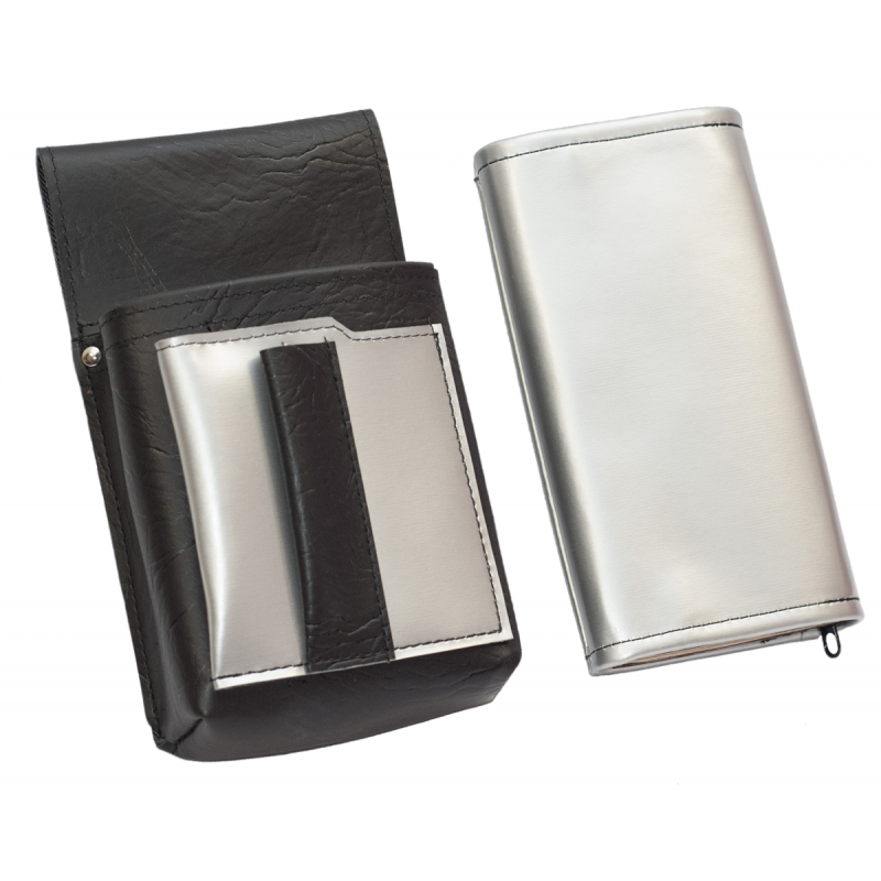 Artificial leather set - moneybag (silver, 2 zippers) and pouch with a colour element