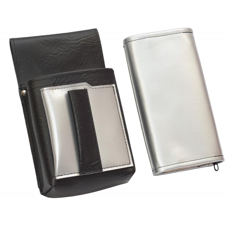 Koženkový set - peňaženka (strieborná, 2 zipsy) a vrecko s farebným prvkom