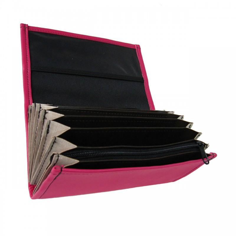 Číšnická peněženka - 2 zipy, koženka, růžová