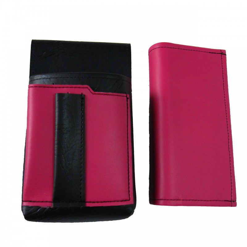 Artificial leather set - moneybag (pink) and pouch with a colour element