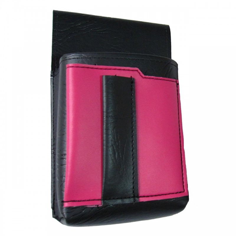 Waiter's holster, pouch with a colour element - artificial leather, pink