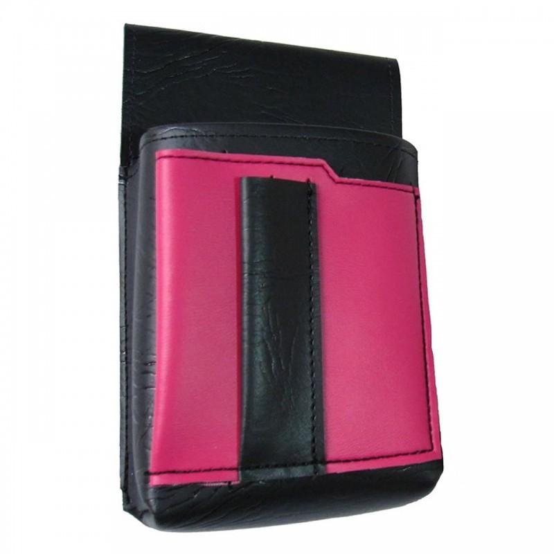 Číšnické pouzdro, kapsa s barevným prvkem - koženka,růžová