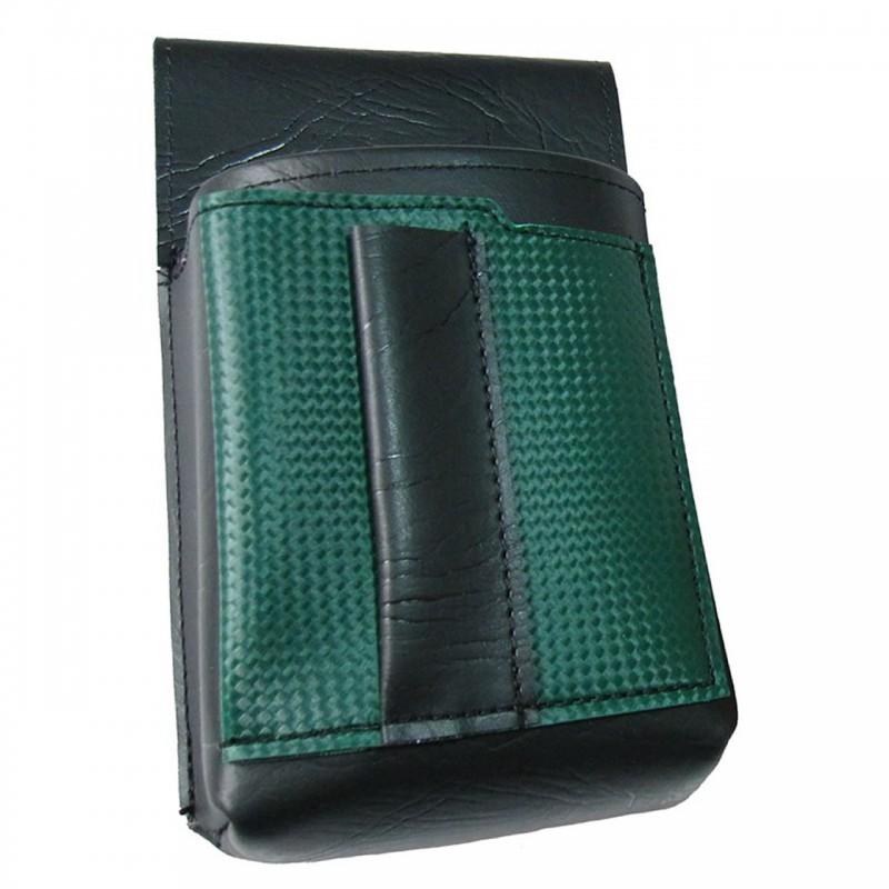 Číšnické pouzdro, kapsa s barevným prvkem - koženka,tmavě zelená
