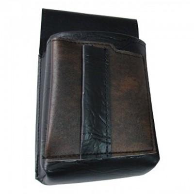 Čašnícke puzdro, vrecko s farebným prvkom - koženka,čierno-hnedá