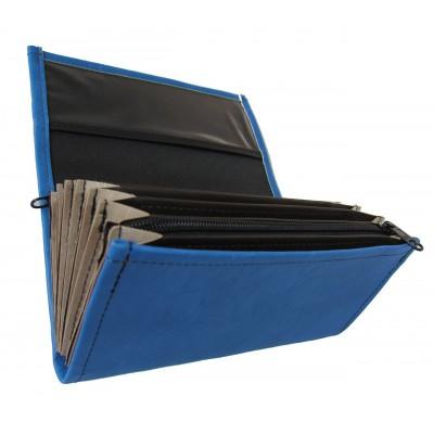 Kellnerportemonnaie – 2 Reißverschlüsse, Kunstleder, blau