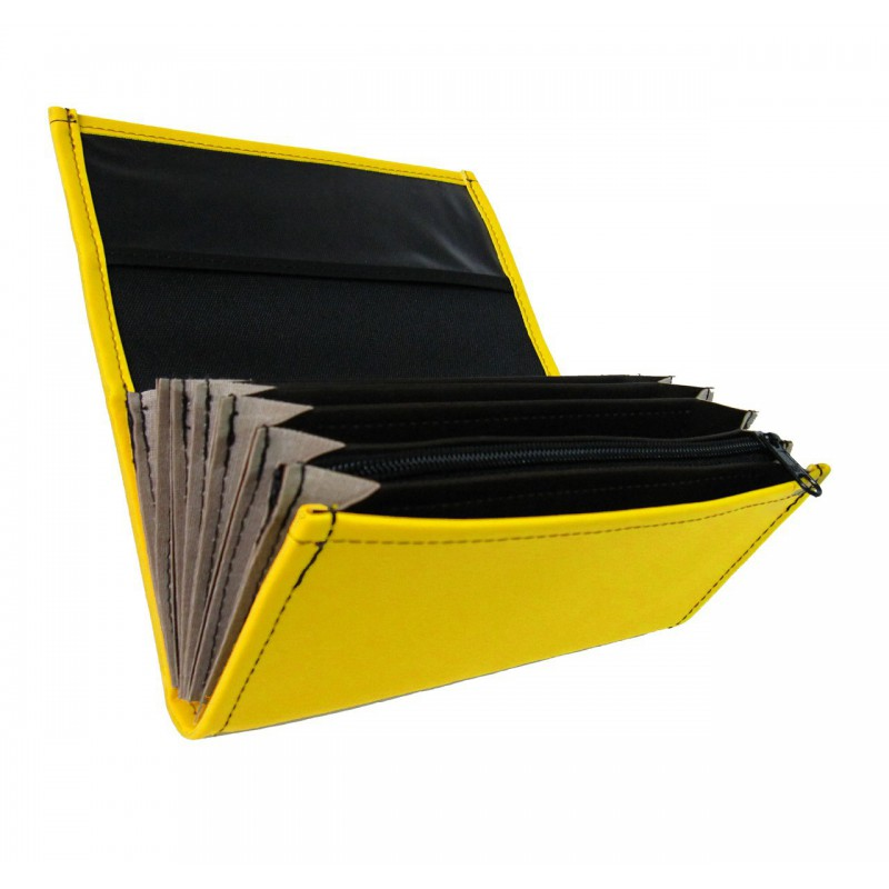 Waiter's moneybag - 2 zippers, artificial leather, yellow
