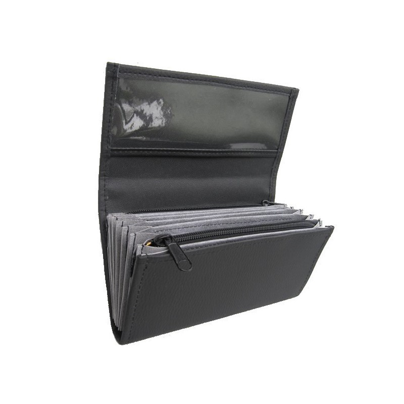 Waiter's moneybag - 2 zippers, artificial leather,black