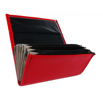 Waiter's moneybag - 2 zippers, artificial leather, red