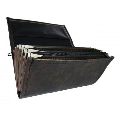 Čašnícka peňaženka - koženka, čierno-hnedá