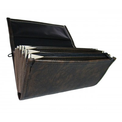 Waiter's moneybag - 2 zippers, artificial leather, black-brown
