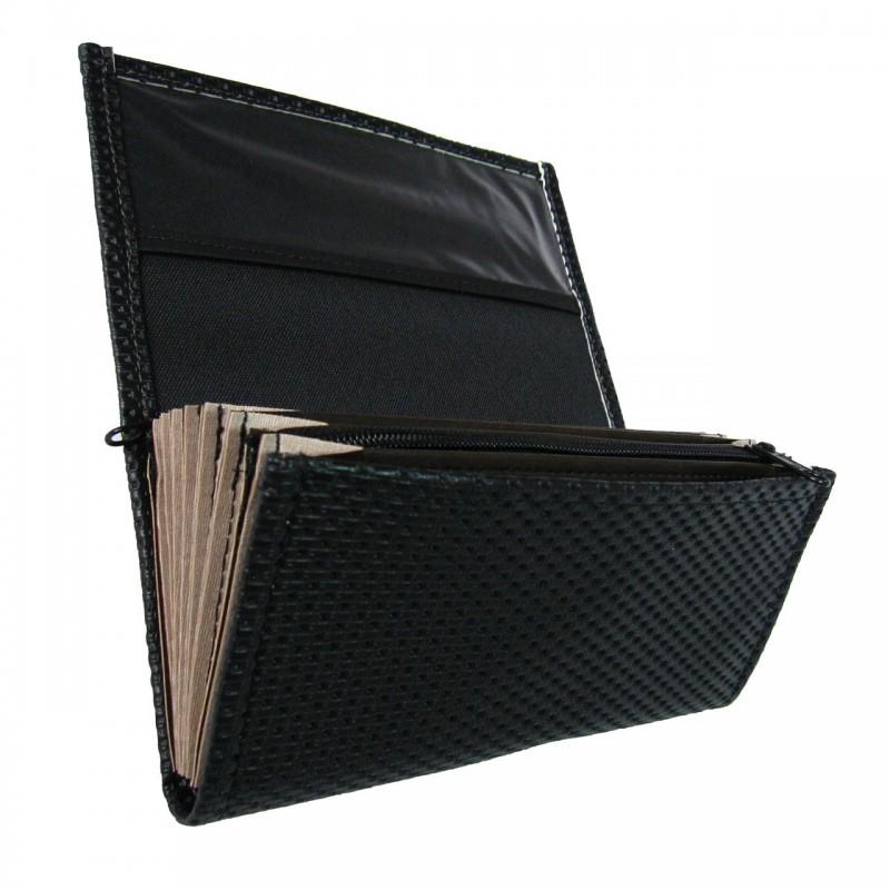 Čašnícka peňaženka - 2 zipsy, koženka, vrúbkovaná, čierna