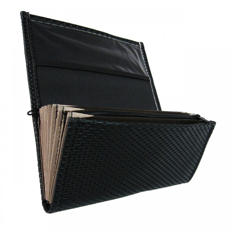 Waiter's moneybag - 2 zippers, artificial leather, grooved, black