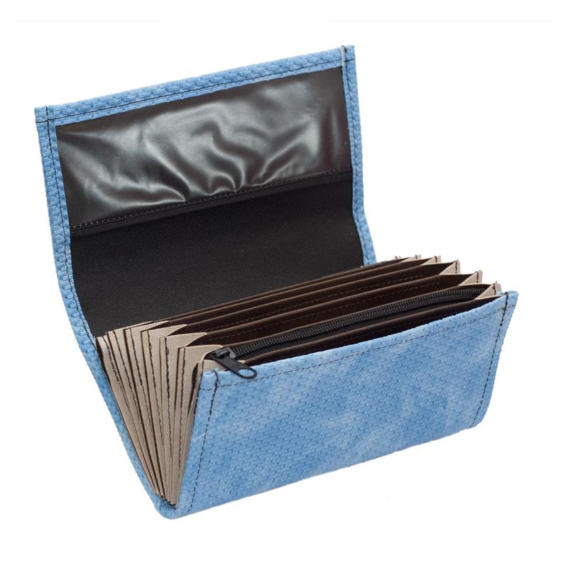 Kellnerportemonnaie – 2 Reißverschlüsse, Kunstleder,gezackt, blau