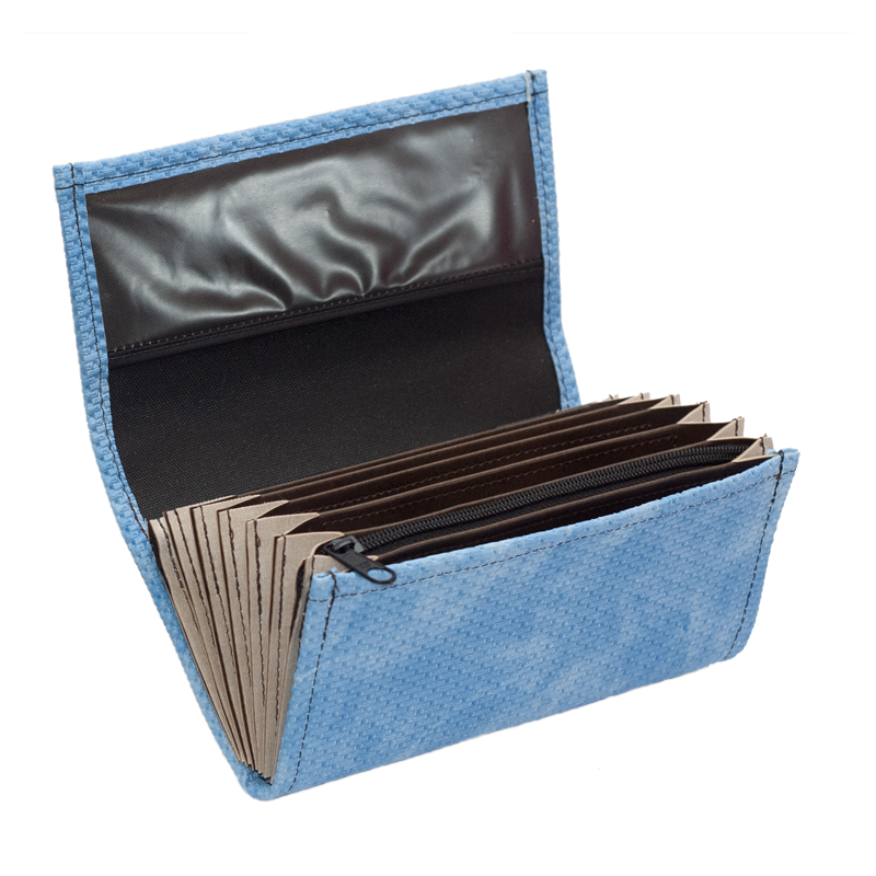 Waiter's moneybag - 2 zippers, artificial leather, grooved, blue