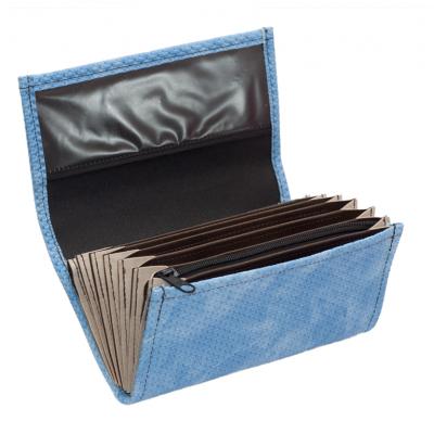 Čašnícka peňaženka - koženka, vrúbkovaná, modrá