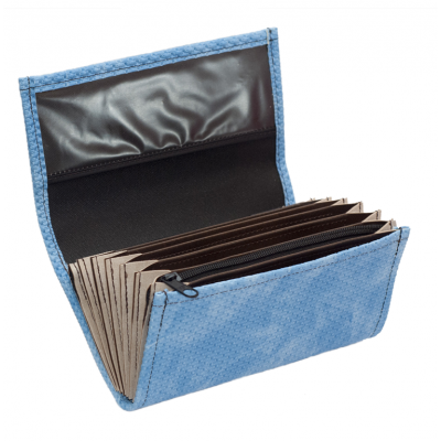 Waiter's moneybag - artificial leather, grooved, blue