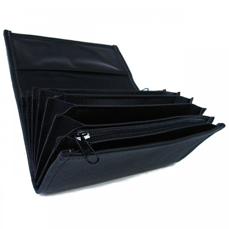 Leather waiter's purse - black