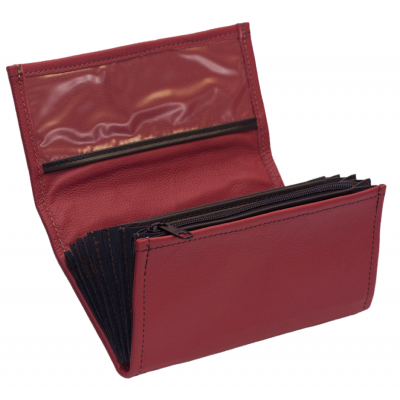 Leather waiter's purse - red