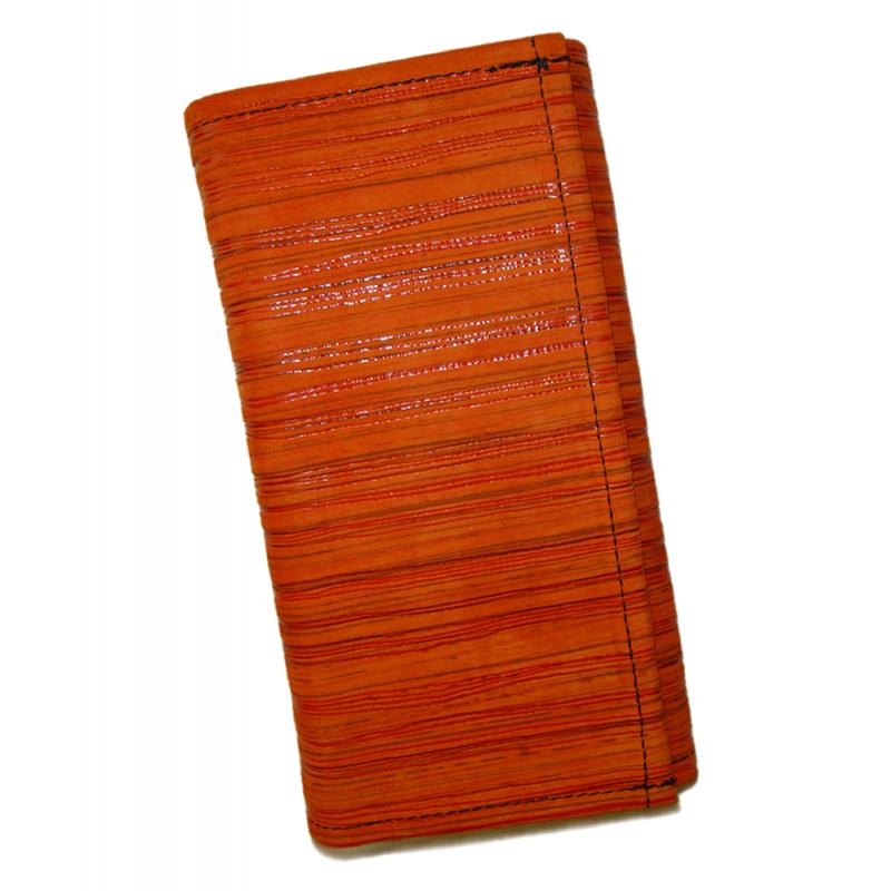 Kožená peňaženka - oranžová prúžky