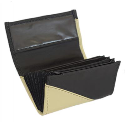 Kožená peňaženka - slonová kosť/čierna