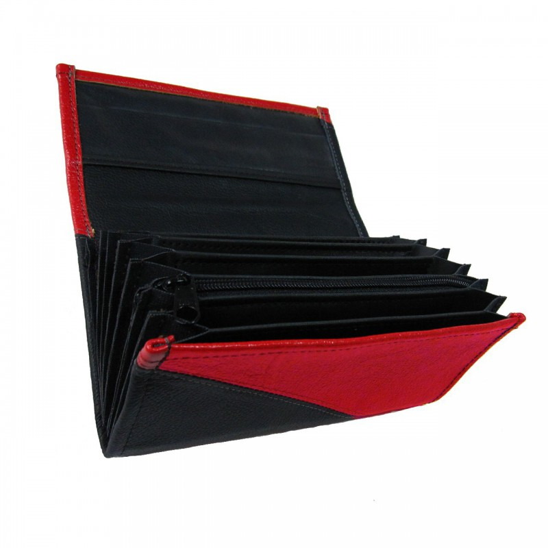 Leather waiter's purse - red/black