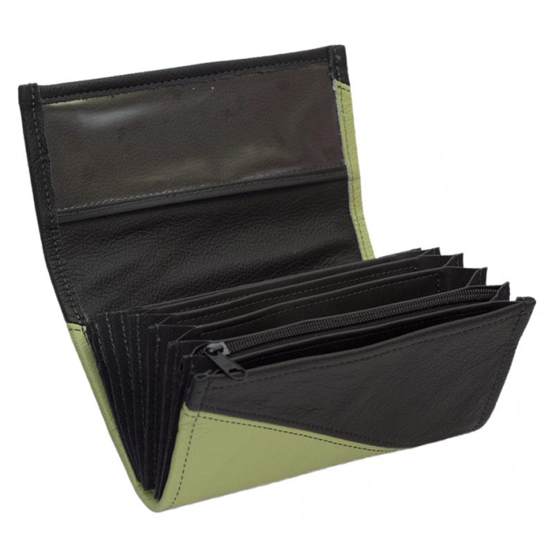 Kožená peňaženka - olivovo zelená/čierna