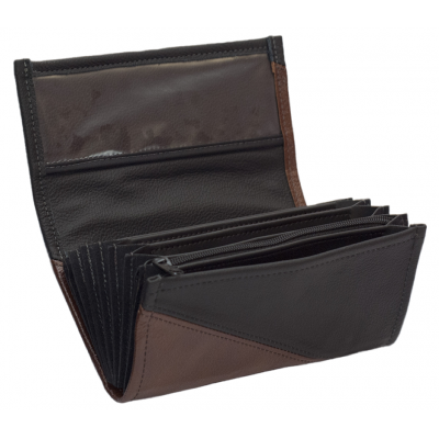 Leather waiter's purse - brown/black