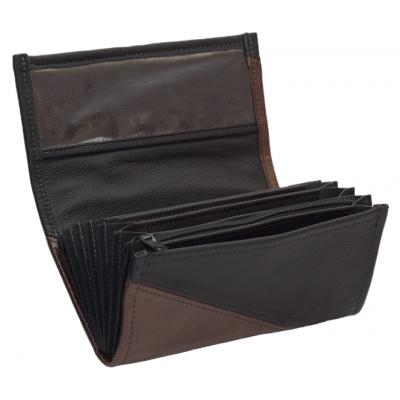 Leder-Kellnerbrieftasche - braun/schwarz