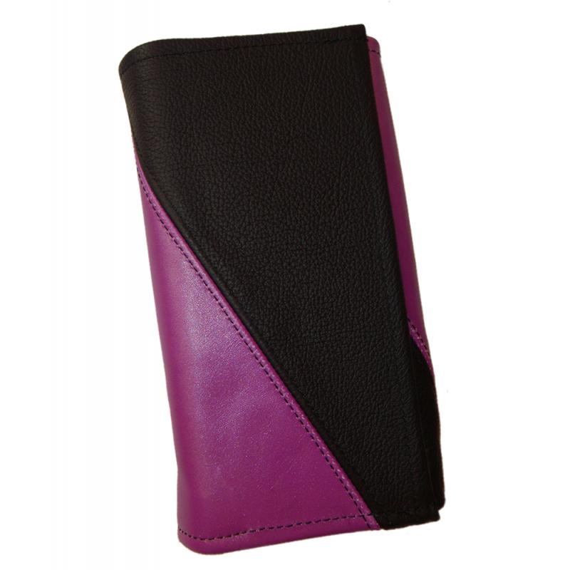 Kožená peňaženka - fialová/čierna