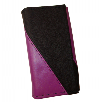 Leather waiter's purse - violet/black