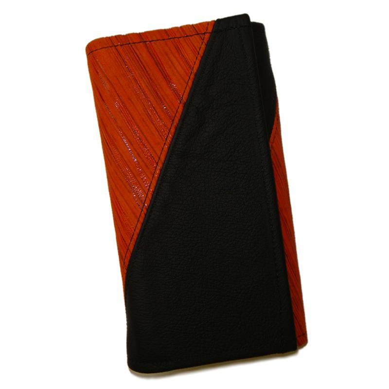Leather waiter's purse - striped orange/black