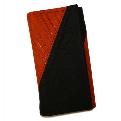 Kožená kasírka - oranžová proužky/černá