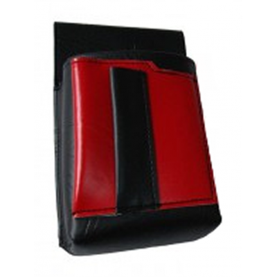 Číšnické pouzdro, kapsa s barevným prvkem - koženka,červená