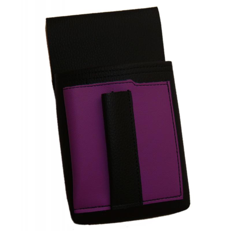 Kellnertasche, Kellnerbeutel mit einem farbigen Element - Kunstleder, lila