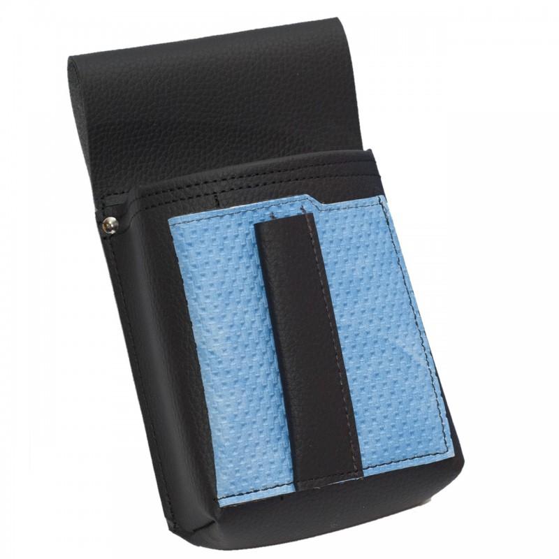 Čašnícke puzdro, vrecko s farebným prvkom - koženka,vrúbkovaná, modrá