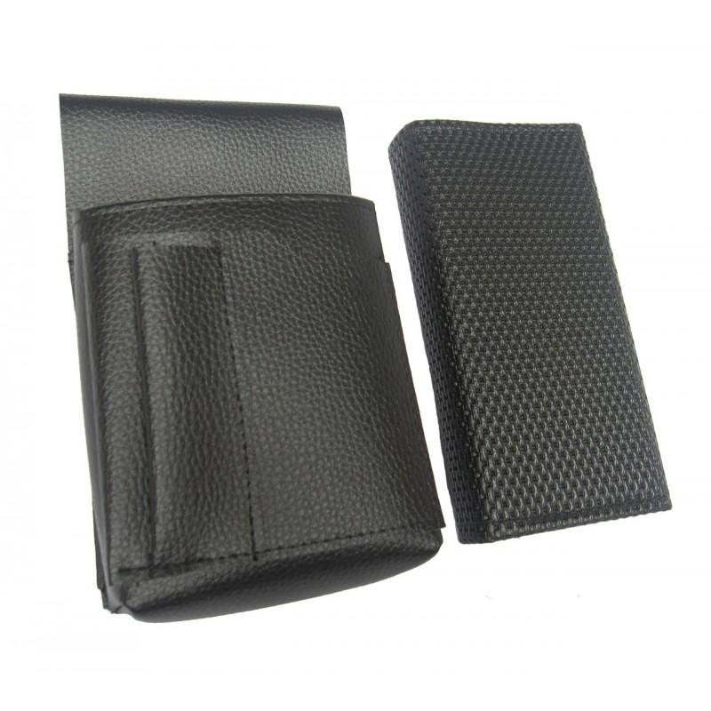 Kellnerkomplet - Geldbörse (schwarz, gezackt, Kunstleder, 2 Reißverschlüsse) und Tasche New Barex