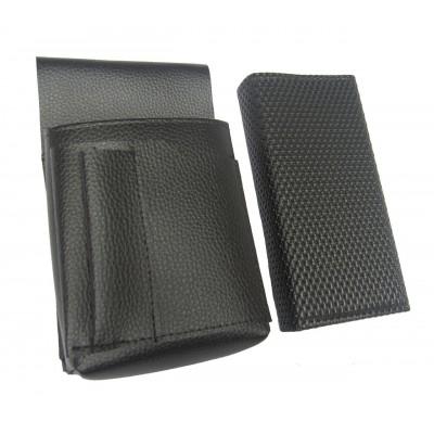 Čašnícka sada - peňaženka (čierna, vrúbkovaná,  koženka) a puzdro New Barex