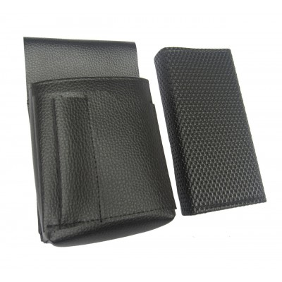Waiter's kit - wallet (black, grooved, artificial leather) and holster New Barex