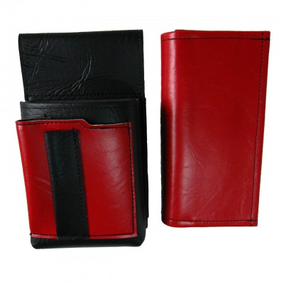 Artificial leather set - moneybag (red, 2 zippers) and pouch with a colour element