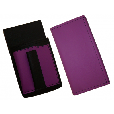 Artificial leather set - moneybag (violet) and pouch with a colour element