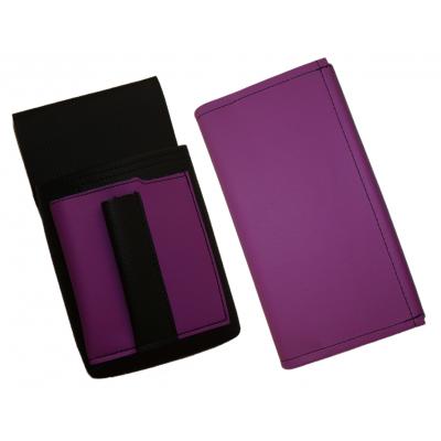 Kunstlederset - Brieftasche (lila) und Futteral mit einem farbigen Element