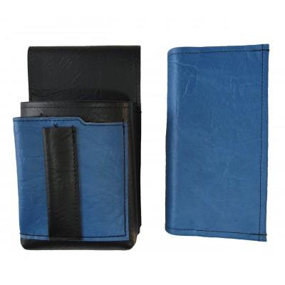 Kunstlederset - Brieftasche (blau) und Futteral mit einem farbigen Element
