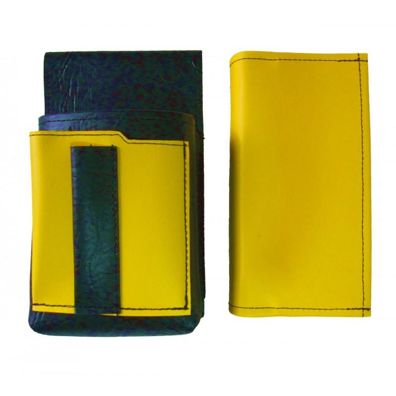 Kunstlederset - Brieftasche (gelb, 2 Reißverschlüsse) und Futteral mit einem farbigen Element