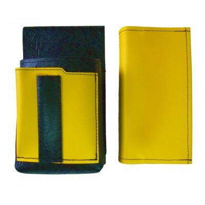 Kunstlederset - Brieftasche (gelb) und Futteral mit einem farbigen Element
