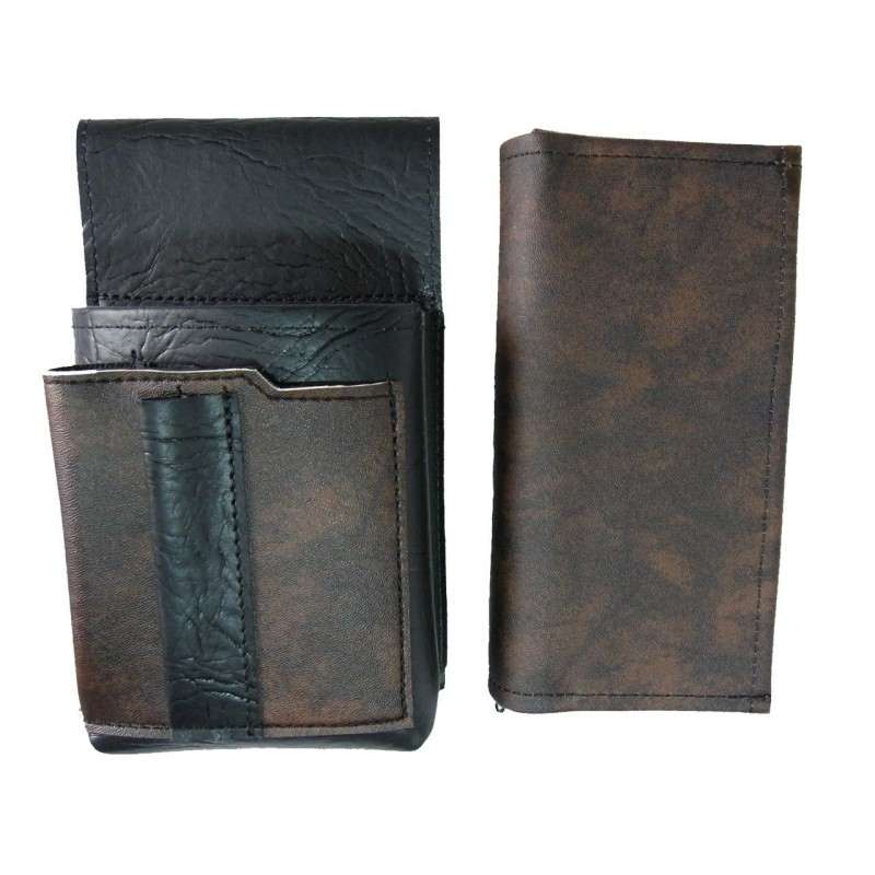 Artificial leather set - moneybag (black-brown) and pouch with a colour element